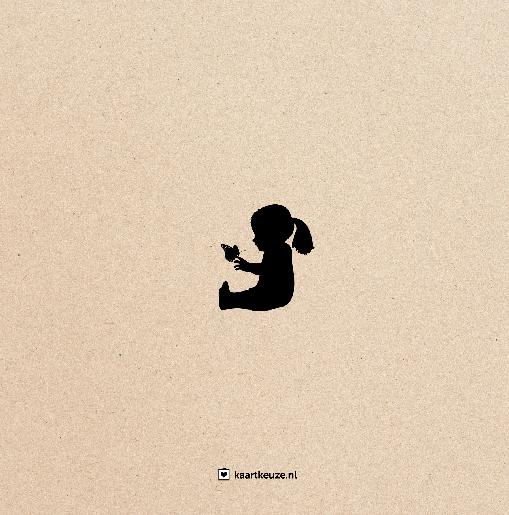 achterkant Babykaartje beer hert meisje zwart kraft