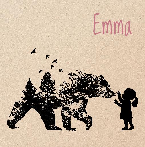 voorkant Babykaartje beer hert meisje zwart kraft
