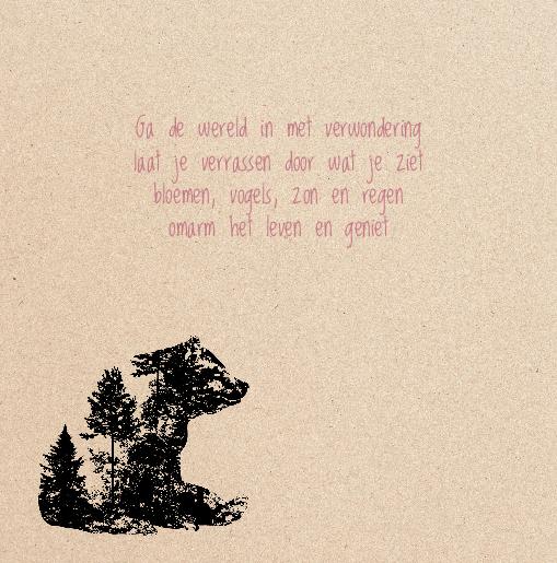 binnenkant links Babykaartje beer hert meisje zwart kraft