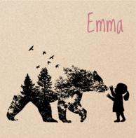 Babykaartje beer hert meisje zwart kraft