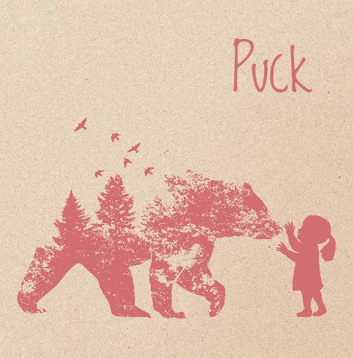 voorkant Babykaartje beer hert meisje roze kraft