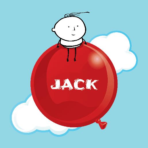 voorkant Geboortekaartje baby ballon Jack