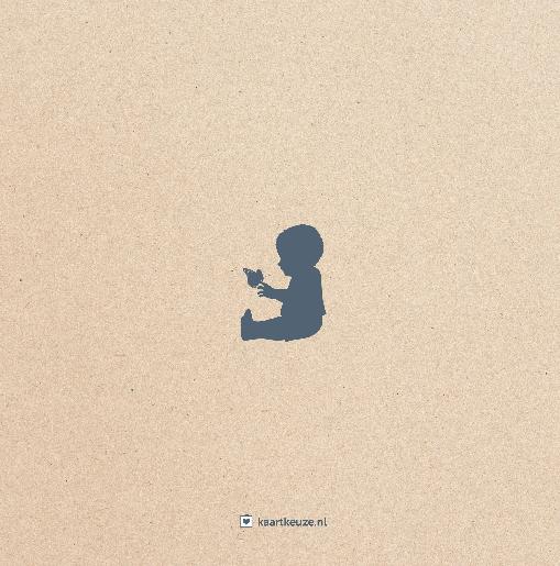 achterkant Geboortekaartje beer silhouet kraft grijsblauw