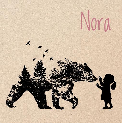 voorkant Geboortekaartje meisje beer wolf kraft