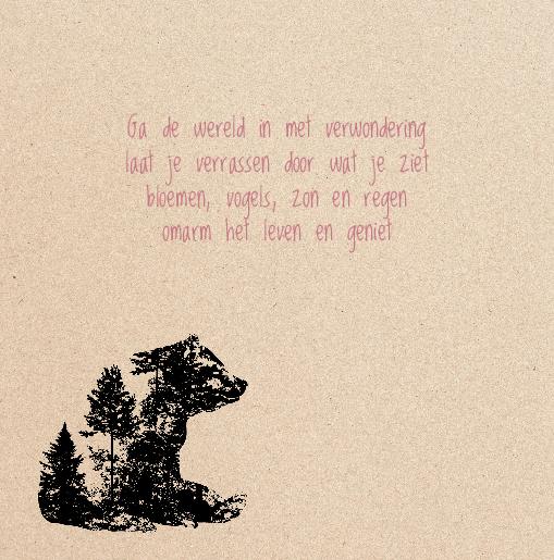 binnenkant links Geboortekaartje meisje beer wolf kraft