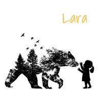 Geboortekaartje meisje beer hertje zwart