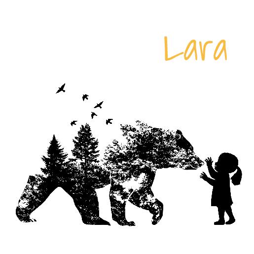 voorkant Geboortekaartje meisje beer hertje zwart
