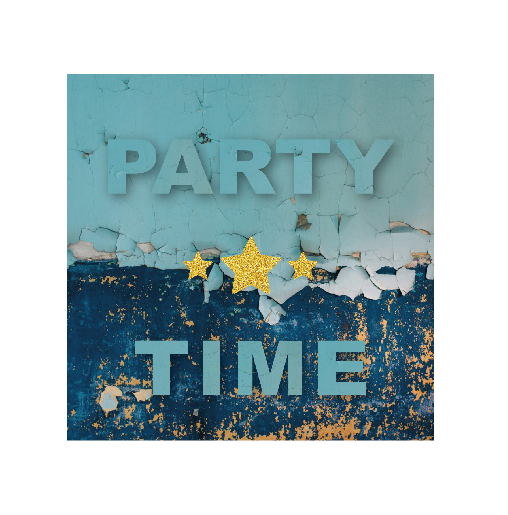 voorkant Kaart blauw party time