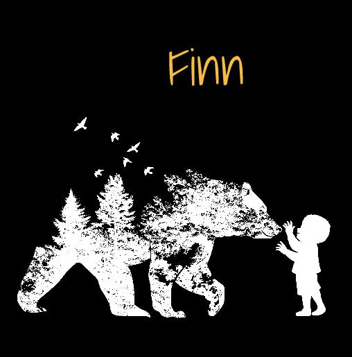 voorkant Geboortekaartje silhouet beer zwart wit