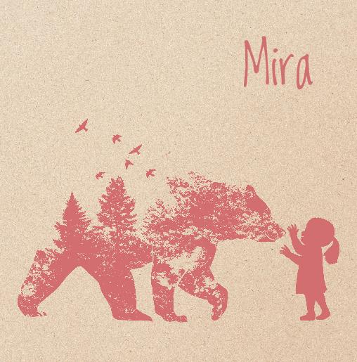 voorkant Geboortekaartje zus beer silhouet kraft oud roze