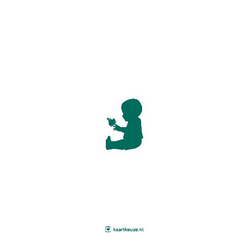 achterkant Geboortekaartje silhouet beer jongen groen