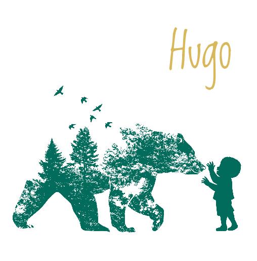 voorkant Geboortekaartje silhouet beer jongen groen