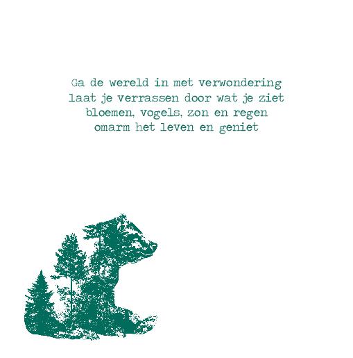 binnenkant links Geboortekaartje silhouet beer jongen groen
