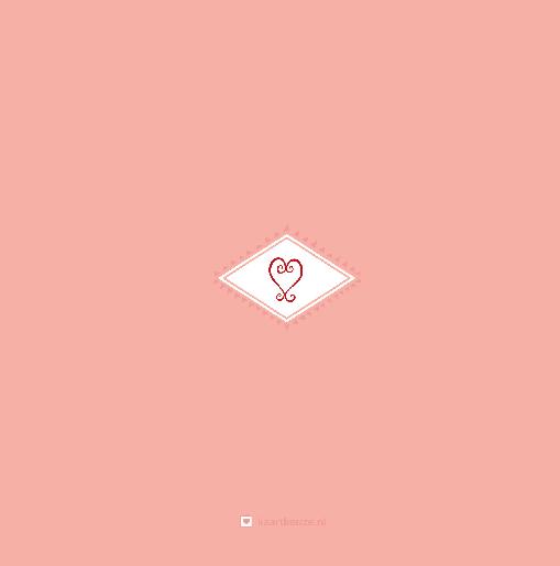 achterkant Trouwkaart harlekijntje rood/ roze