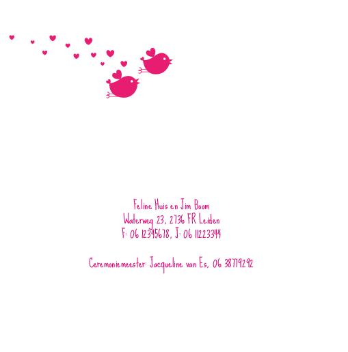 binnenkant links Trouwkaart love birds (roze)